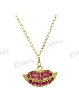 Κολιέ χρυσό με σχέδιο χαμόγελο στολισμένο με κόκκινες πέτρες ζιργκόν