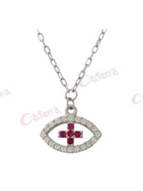 Κολιέ λευκόχρυσο με σχέδιο μάτι με σταυρό στο κέντρο στολισμένο με άσπρες και κόκκινες πέτρες ζιργκόν