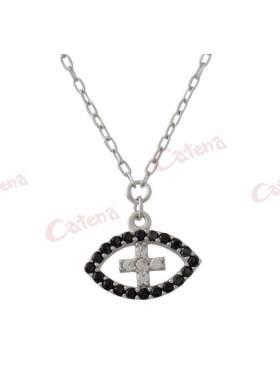 Κολιέ λευκόχρυσο με μάτι με σταυρό στο κέντρο στολισμένο με μαύρες πέτρες ζιργκόν