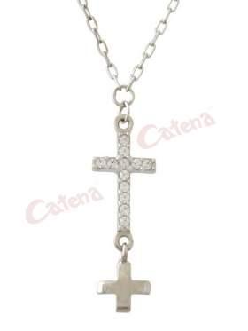 Κολιέ λευκόχρυσο με σχέδιο σταυρό στολισμένο με άσπρες πέτρες ζιργκόν και λευκόχρυσο σταυρό από κάτω