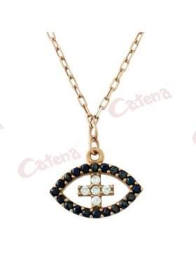 Κολιέ ροζ χρυσό με σχέδιο μάτι με σταυρό στο κέντρο στολισμένο με άσπρες και μαύρες πέτρες ζιργκόν