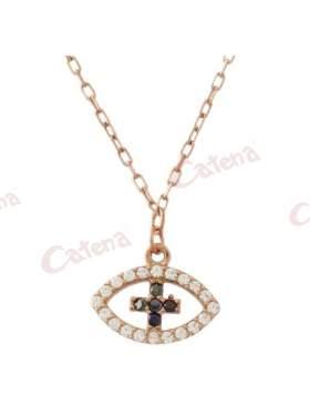 Κολιέ ροζ χρυσό με σχέδιο μάτι και σταυρό στο κέντρο στολισμένο με άσπρες και μαύρες πέτρες ζιργκόν και σταυρό από κάτω