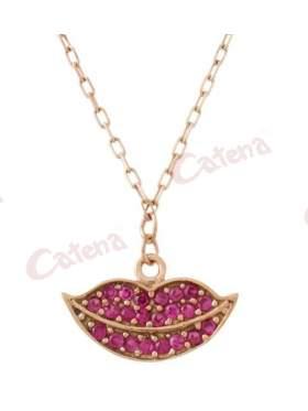 Κολιέ ροζ χρυσό με σχέδιο χαμόγελο στολισμένο με κόκκινες πέτρες ζιργκόν
