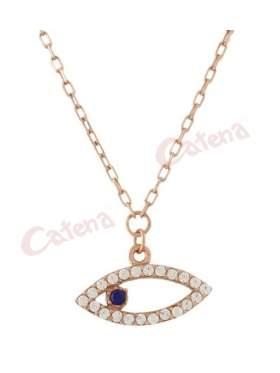 Κολιέ ροζ χρυσό με σχέδιο μάτι στολισμένο με άσπρες πέτρες ζιργκόν