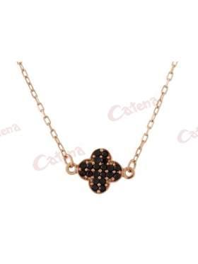 Κολιέ ροζ χρυσό με σχέδιο σταυρό στολισμένο με μαύρες πέτρες ζιργκόν
