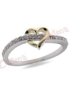 Ασημένιο δαχτυλίδι επιπλατινωμένο και επίχρυσο με ζιργκόν λευκές πέτρες και σχέδιο καρδιά
