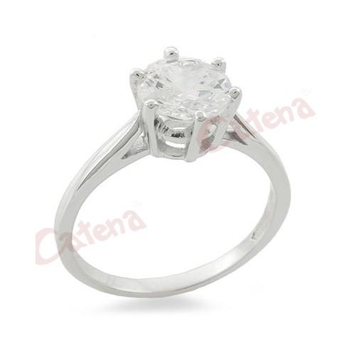 Δαχτυλίδι ασημένιο επιπλατινωμένο με στρογγυλή πέτρα ζιργκόν σε χρώμα λευκό  μονόπετρο. › 94c01278227