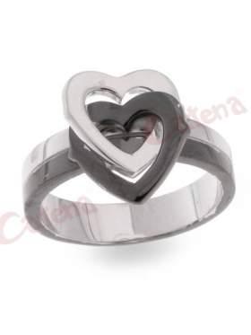 Ασημένιο δαχτυλίδι, δίχρωμο με μαύρο ρόδιο και σχέδιο καρδιές