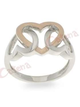 Ασημένιο δαχτυλίδι, δίχρωμο με σχέδιο καρδιές πιασμένες μεταξύ τους