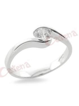 Ασημένιο δακτυλίδι επιπλατινωμένο με άσπρες πέτρες ζιργκόν σχέδιο μονόπετρο