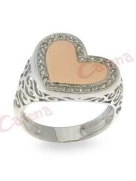 Δαχτυλίδι ασημένιο, επιπλατινωμένο, δίχρωμο με σχέδιο καρδιά στολισμένο με άσπρες πέτρες ζιργκόν