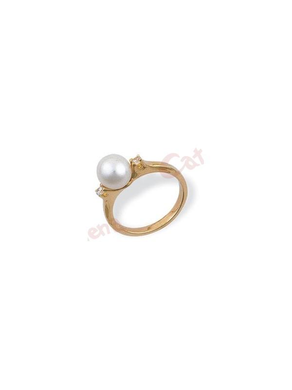 Δαχτυλίδι χρυσό στολισμένο με μαργαριτάρι και άσπρες πέτρες ζιργκόν. › 02da080f520
