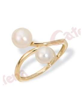Δαχτυλίδι χρυσό στολισμένο με μαργαριτάρια eeacf30605b