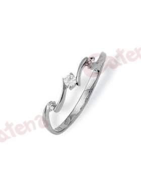 Δαχτυλίδι λευκόχρυσο, στολισμένο με άσπρες πέτρες ζιργκόν