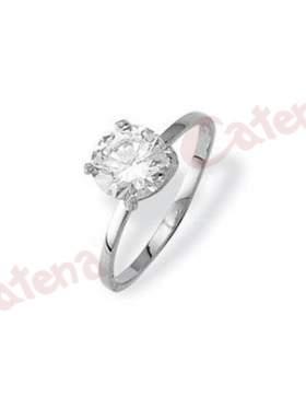 Δαχτυλίδι λευκόχρυσο, στολισμένο με άσπρη πέτρα ζιργκόν