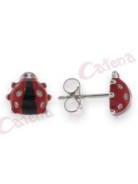 Ασημένια σκουλαρίκια επιπλατινωμένα με σχέδιο πασχαλίτσα στολισμένη με κόκκινο σμάλτο