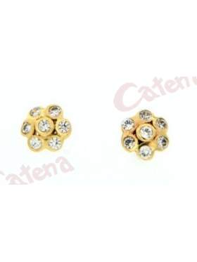 Σκουλαρίκι χρυσό με καρφί και κούμπωμα πεταλούδα στολισμένο με άσπρες πέτρες ζιργκόν