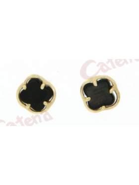 Σκουλαρίκι χρυσό με καρφί και κούμπωμα πεταλούδα στολισμένο με μάυρο φίλντισι
