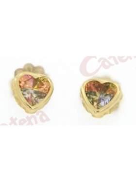 Σκουλαρίκι χρυσό στολισμένο με πολύχρωμες πέτρες ζιργκόν