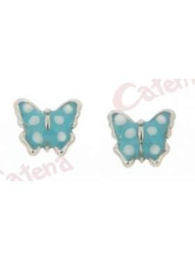 Σκουλαρίκι λευκόχρυσο με σμάλτο σε σχέδιο πεταλούδα