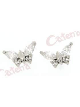 Σκουλαρίκι λευκόχρυσο σε σχέδιο πεταλούδα στολισμένη με άσπρη πέτρα ζιργκόν