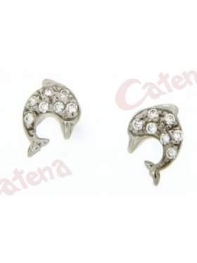 Σκουλαρίκι λευκόχρυσο σε σχέδιο δελφίνι στολισμένο με άσπρες πέτρες ζιργκόν