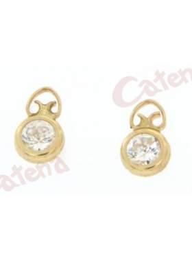 Σκουλαρίκι χρυσό στολισμένο με άσπρες πέτρες ζιργκόν