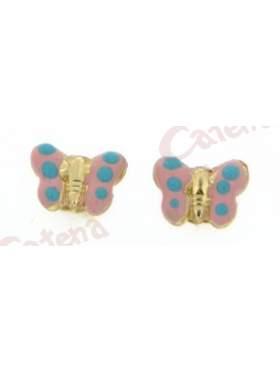 Σκουλαρίκι χρυσό με σμάλτο με σχέδιο πεταλούδα