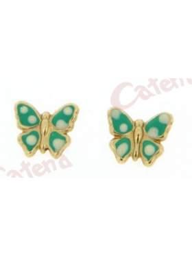 Σκουλαρίκι χρυσό με σμάλτο σε σχέδιο πεταλούδα