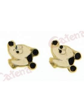Σκουλαρίκι χρυσό με σμάλτο σε σχέδιο mickey mouse
