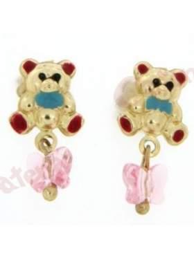 Σκουλαρίκι χρυσό με σμάλτο σε σχέδιο αρκουδάκι