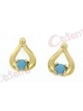 Σκουλαρίκι χρυσό στολισμένο με πέτρα τυρκουάζ