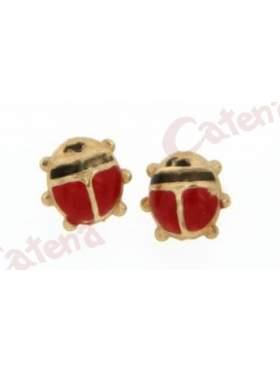Σκουλαρίκι χρυσό με σμάλτο σε σχέδιο πασχαλίτσα