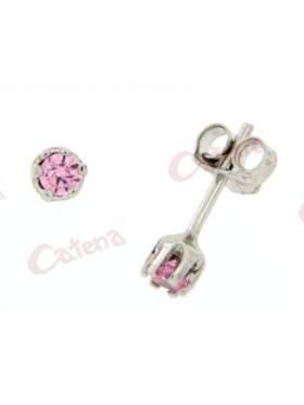 Σκουλαρίκια λευκόχρυσα, στολισμένα με ρόζ πέτρες ζιργκόν