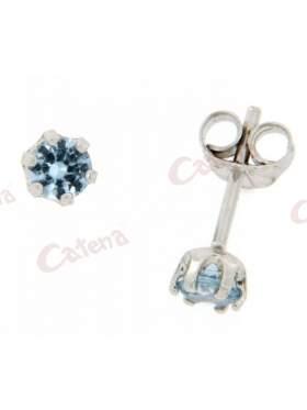 Σκουλαρίκια λευκόχρυσα, στολισμένα με γαλάζιες πέτρες ζιργκόν