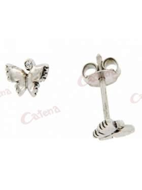 Σκουλαρίκια λευκόχρυσα, με σχέδιο πεταλούδες, στολισμένα με άσπρη πέτρα ζιργκόν