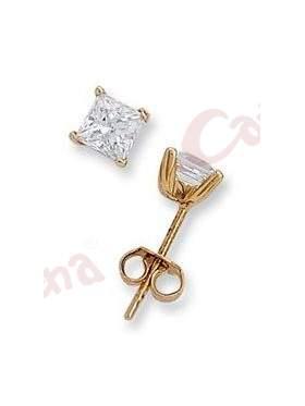 Σκουλαρίκι χρυσό, στολισμένο με άσπρη πέτρα ζιργκόν