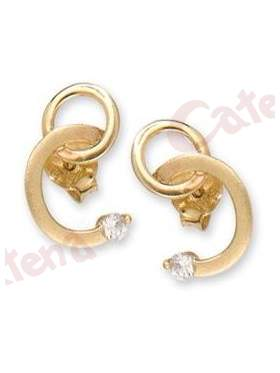 Σκουλαρίκι χρυσό, στολισμένο με άσπρες πέτρες ζιργκόν