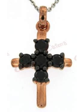 Σταυρός ασημένιος, επιπλατινωμένος, ρόζ επιχρυσωμένος, στολισμένος με μαύρες πέτρες ζιργκόν