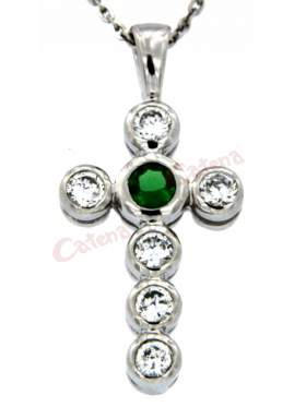 Σταυρός ασημένιος, επιπλατινωμένος, στολισμένος με άσπρες και πράσινη πέτρα ζιργκόν στο κέντρο