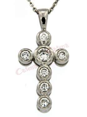 Σταυρός ασημένιος, επιπλατινωμένος, στολισμένος με άσπρες πέτρες ζιργκόν