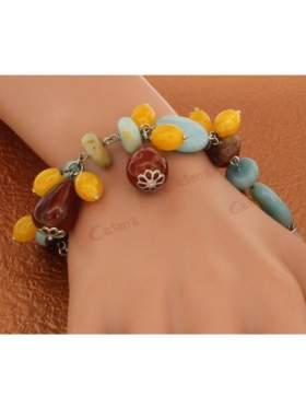 Βραχιόλι ασημένιο με ημιπολύτιμες Πέτρες σε διάφορα χρώματα
