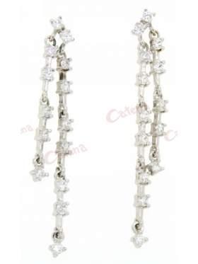 Σκουλαρίκια ασημένια επιπλατινωμένα με άσπρες πέτρες ζιργκόν σε διπλή σειρά