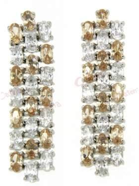 Σκουλαρίκια ασημένια επιπλατινωμένα με άσπρες πέτρες ζιργκόν και κίτρινες