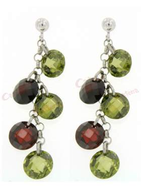 Σκουλαρίκια ασημένια επιπλατινωμένα με πράσινες και καφέ πέτρες ζιργκόν