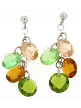 Σκουλαρίκια ασημένια επιπλατινωμένα με πράσινες και κίτρινες πέτρες ζιργκόν