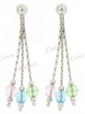 Σκουλαρίκια ασημένια επιπλατινωμένα με πράσινες ροζ και γαλάζιες πέτρες ζιργκόν