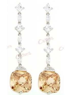 Σκουλαρίκια ασημένια επιπλατινωμένα με άσπρες πέτρες ζιργκόν και σαμπανιζέ