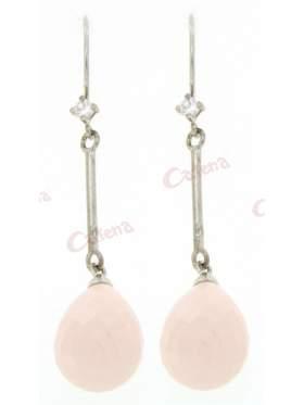 Σκουλαρίκια ασημένια επιπλατινωμένα με άσπρες πέτρες ζιργκόν και ροζ