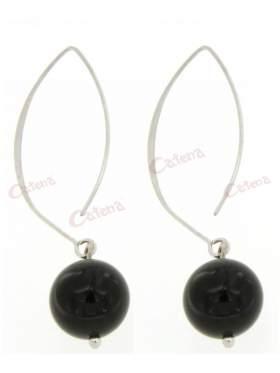 Σκουλαρίκια ασημένια επιπλατινωμένα με μαύρη πέτρα
